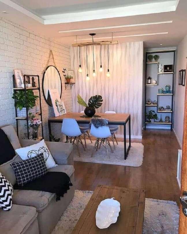 48. Parede tijolinho branco para decoração de sala de estar e jantar integradas pequenas – Foto: Minha Casa Decorada