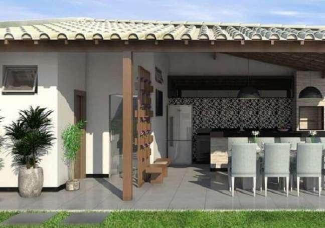 34. Edícula simples com espaço gourmet equipado com eletrodomésticos. Fonte: Educa Cursos & Ideias