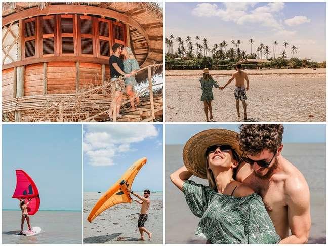 Sol, calor, praia, mar e vento: o casal se divertiu ao praticar esportes aquáticos