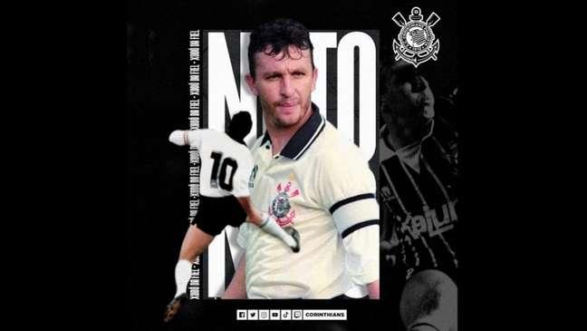 Corinthians celebrou o aniversário de 55 anos do Craque Neto (Foto: Reprodução/Twitter Corinthians)