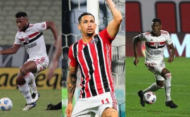 Luan, Luciano e Léo estão entre os pendurados do São Paulo (Foto: Montagem LANCE!)
