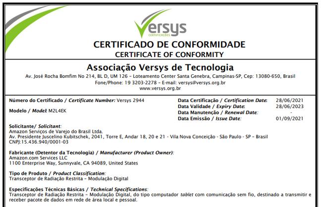 Certificado de conformidade técnica do tablet da Amazon