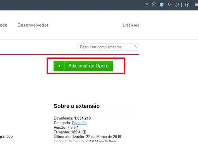 """Clique em """"Adicionar ao Opera"""" para concluir"""