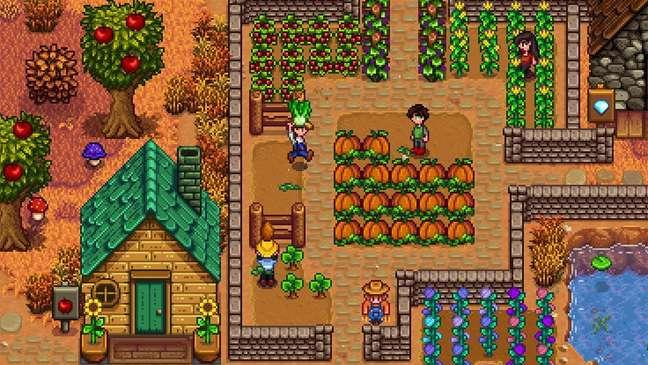 Monte sua própria fazenda e fortaleça relacionamentos com outros personagens na pequena vila agrícola