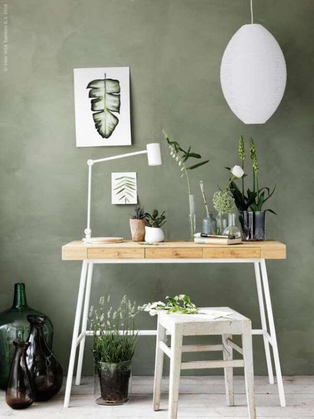 39. Sala com parede verde sage – Foto IKEA
