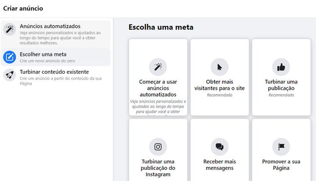 A interface permite a criação de anúncios em um clique, de acordo com as necessidades.