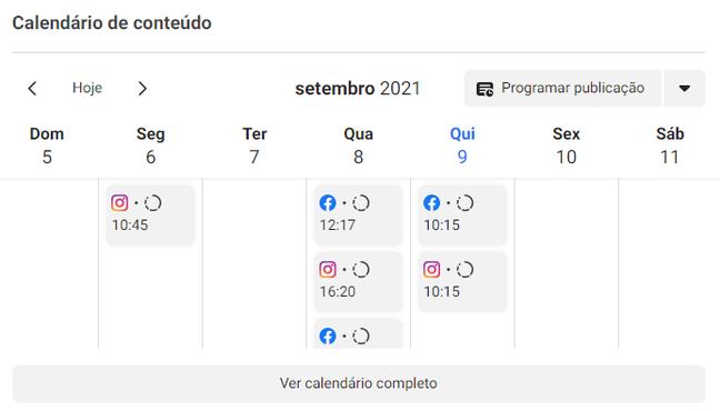 O Business Suite tem um calendário com a visualização completa de todos os conteúdos publicados e agendados.