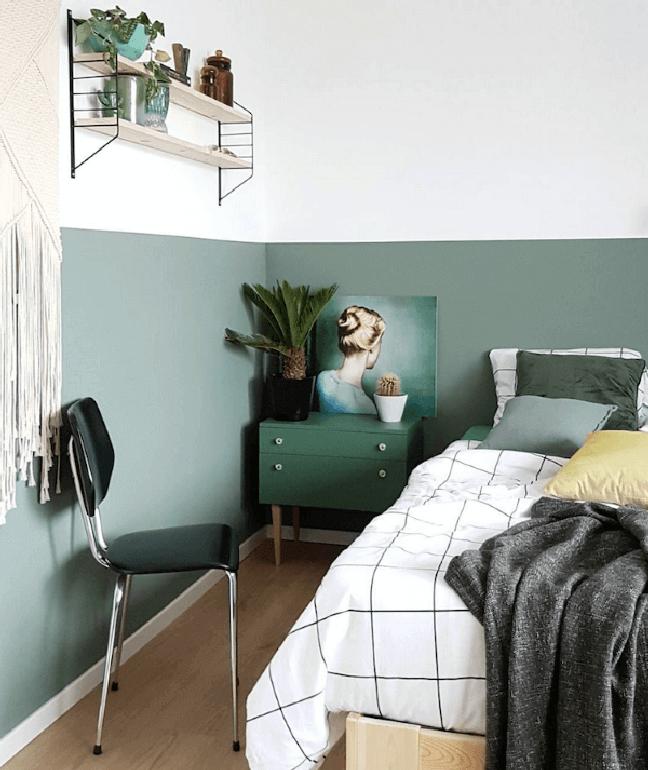 29. Quarto com parede verde sage – Foto Marian Via My Scandinavian Home