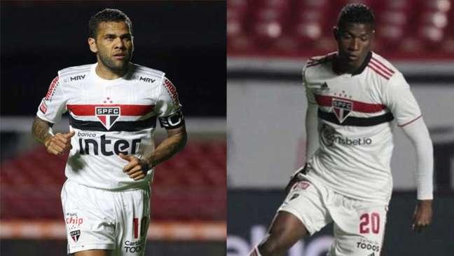 Daniel Alves e Orejuela disputam vaga na ala do São Paulo (Foto: Reprodução/Twitter)