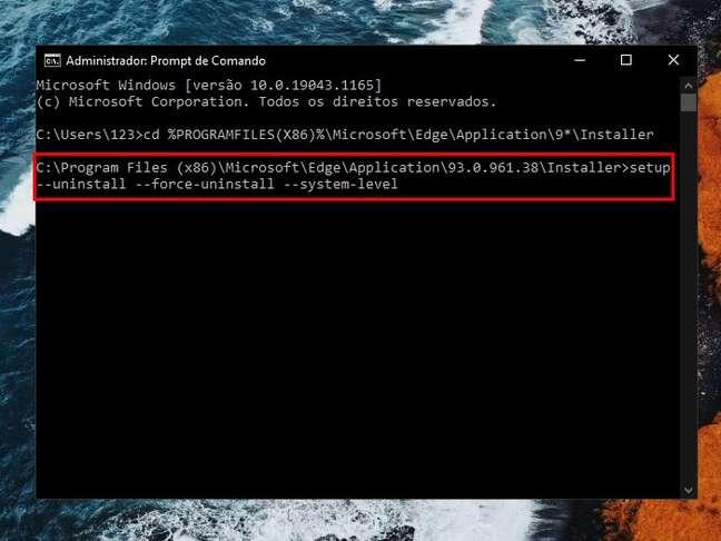 Execute o comando para remover o navegador