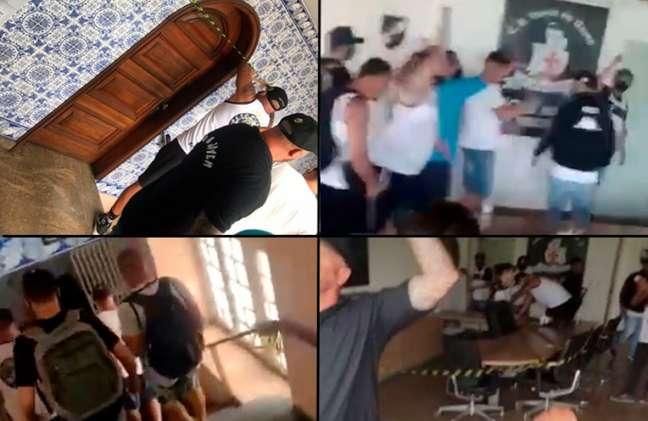 Cenas de protestos promovidos por vascaínos na sede do clube carioca (Montagem LANCE!)