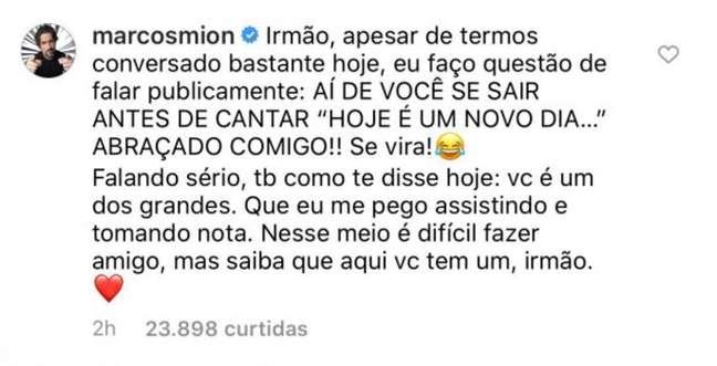 Marcos Mion declarou sua admiração por Tiago Leifert