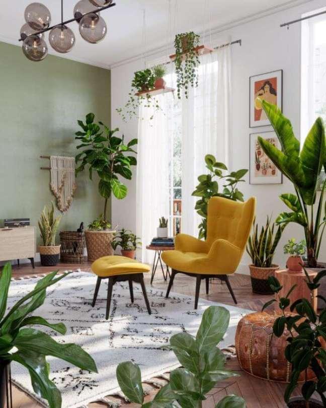 20. Decoração verde sage com poltrona amarela – Foto SK Design Ru