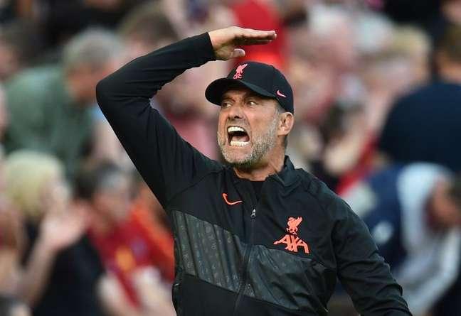 Juergen Klopp durante partida do Liverpool contra o Chelsea pelo Campeonato Inglês 28/08/2021 REUTERS/Peter Powell