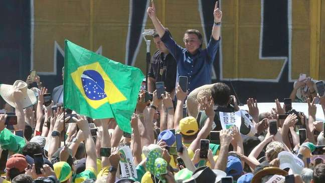 O presidente da República do Brasil, Jair Messias Bolsonaro, participa de ato na Esplanada dos Ministérios