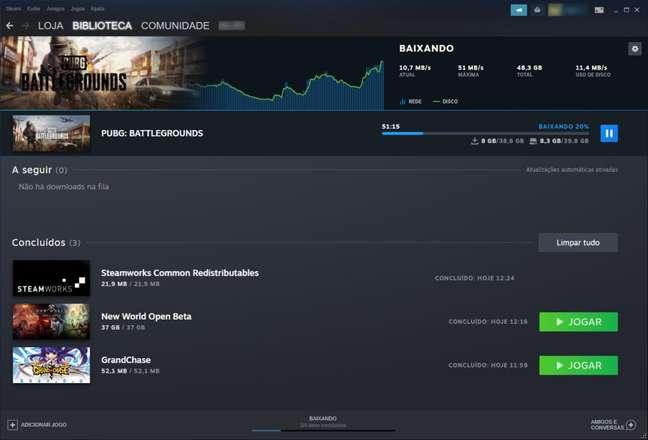 Interface da página de downloads do Steam ganhou mais informações