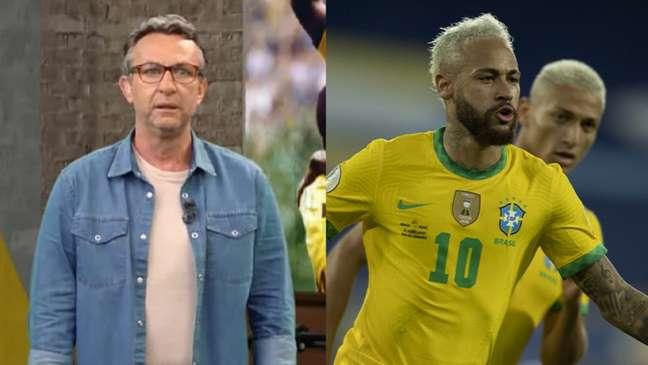 Neto repercutiu reclamação de Neymar (Montagem Lance! Fotos: Reprodução / Band; Lucas Figueiredo / CBF)