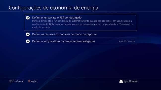O PS4 possibilita configurar a economia de energia