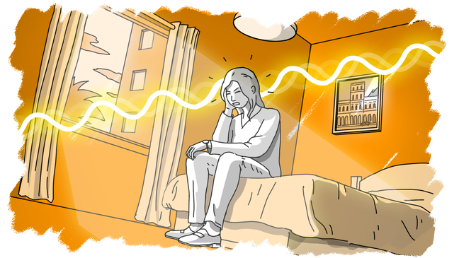 Illustration of woman in a hotel room experiencing pain in her head
