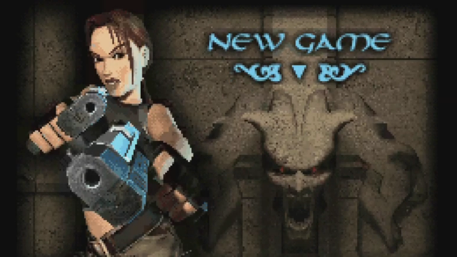 Tela de abertura em Tomb Raider: The Prophecy