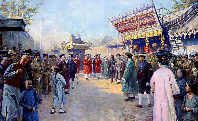 Procissão de presentes de casamento de Puyi, Imperador Xuantong da China (1906-1967), para sua noiva Lady Gobulo, Imperatriz Xiaokemin (1906-1946)