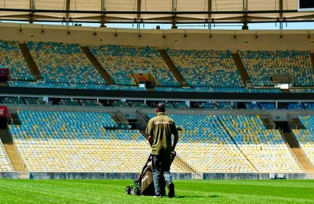 Foto recente do gramado do Maracanã. Estádio é o palco principal dos jogos do Flamengo (Foto: Luã Vitor / Maracanã)