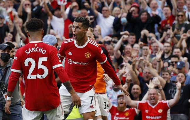 Cristiano Ronaldo marcou duas vezes no retorno ao United