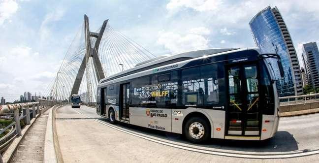 Um dos 18 ônibus elétricos operados pela Transwolff