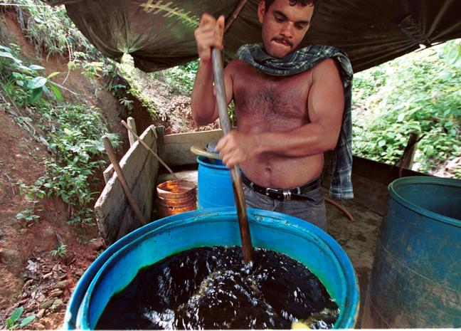 O processo de transformar a folha em base para cocaína é cada vez mais aperfeiçoado por produtores em busca de valor agregado