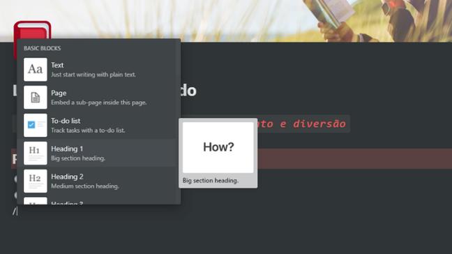 """Ao digitar """"/"""" se tem acesso ao menu de blocos"""