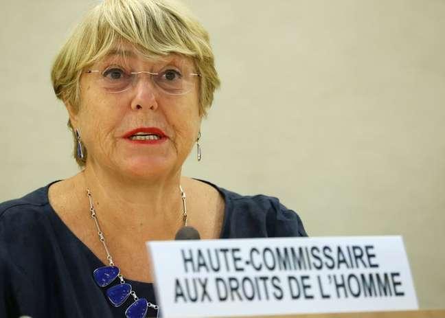 Alta comissára da ONU para os Direitos Humanos, Michelle Bachelet, durante sessão do Conselho de Direitos Humanos da ONU em Genebra 13/09/2021 REUTERS/Denis Balibouse