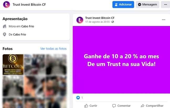 Postagem suposta empresa de investimentos em bitcoin Trust Invest
