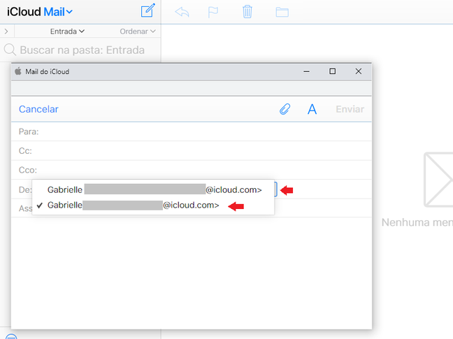 Envie e-mails usando o alias (Reprodução/iCloud)