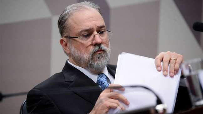 O Procurador-Geral da República, Augusto Aras, durante sabatina da CCJ