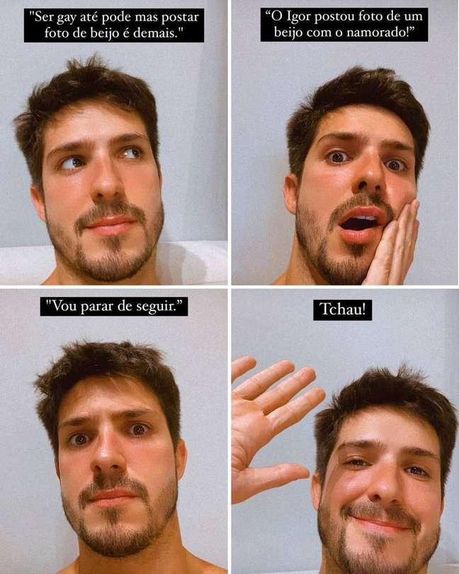 Igor Cosso expõe homofobia no Instagram
