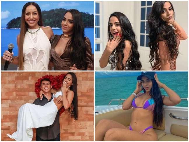 Acima, Mirella e Sabrina e as Gêmeas Lacração; abaixo, a cantora e dançarina com o marido, Gabriel, e 'lacrando' no Instagram