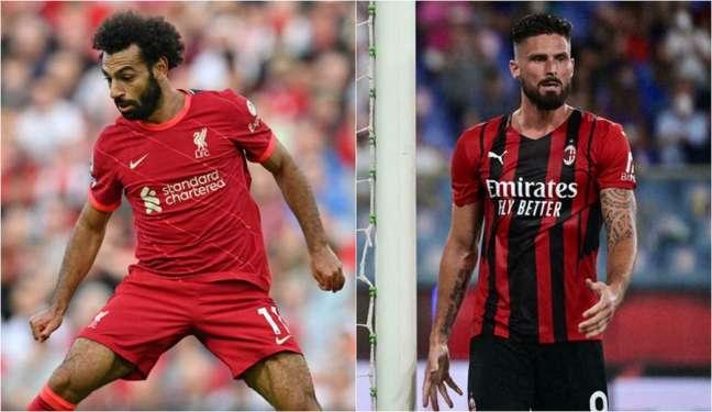 Salah e Giroud são esperanças de gols de Liverpool e Milan (Foto: PAUL ELLIS, MIGUEL MEDINA / AFP)