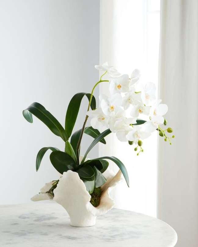 35. Vaso de flor para sala de estar clássica e chique com orquídea branca – Foto Bergford Goodman