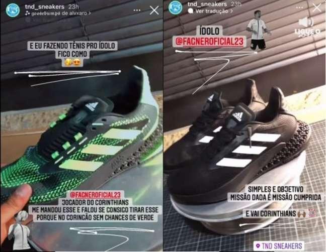 Fagner pediu para um especialista customizar a cor de seu tênis (Foto: Reprodução/Instagram)