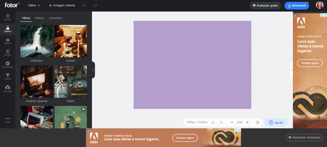 O Fotor oferece uma interface simples e intuitiva para edição de imagens online. (Reprodução: Fotor)