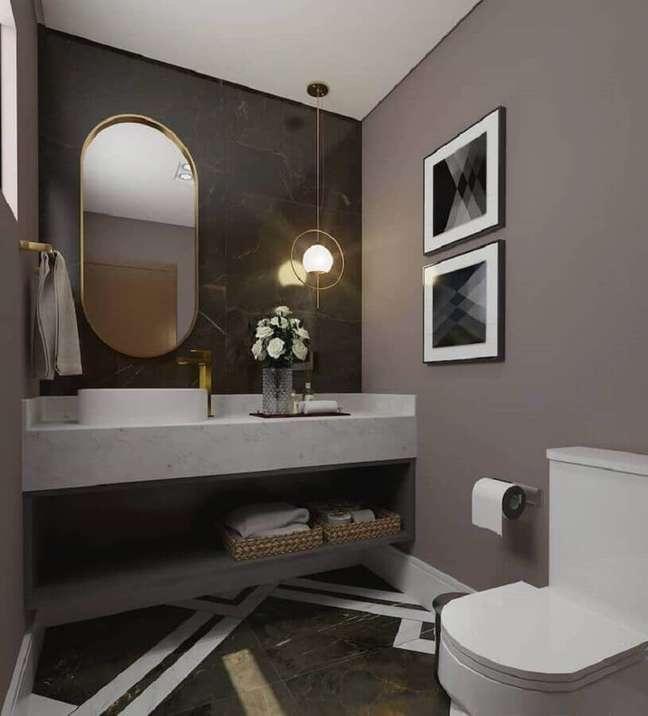 62. Tons de cinza para decoração de banheiro bonito e moderno – Foto: Ventana Arquitetura