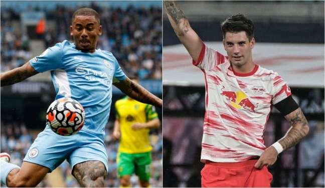 Gabriel Jesus e Szoboszlai são nomes importantes das duas equipes (Foto: ADRIAN DENNIS, TOBIAS SCHWARZ / AFP)