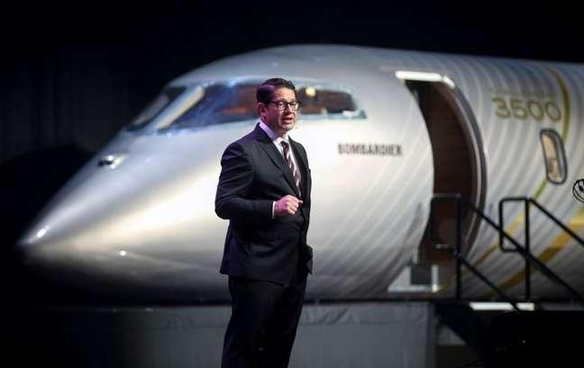 Eric Martel, presidente da Bombardier, apresenta maquete do novo jato executivo  Challenger 3500, Montreal, Canadá 14/09/2021.  REUTERS/Christinne Muschi