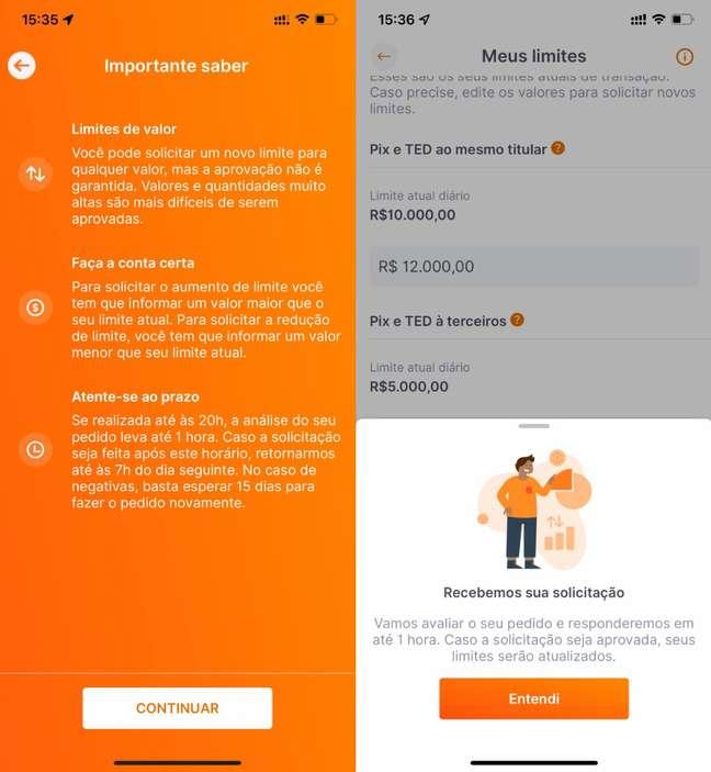 Alteração de limite no app do Inter