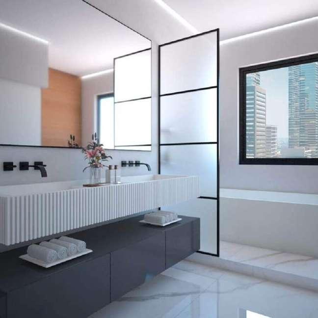 32. Decoração minimalista para banheiros bonitos e modernos – Foto: Mariana Capistrano F Cardim