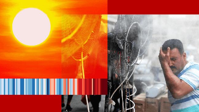 Montagem mostra sol intenso e homem se refrescando com ventilador