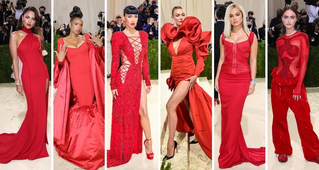 Famosas de vermelho no Met Gala (Fotos: E! Entertainement/Divulgação)