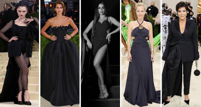 Famosas, incluindo Anitta (centro), de preto no Met Gala (Fotos: E! Entertainment/Divulgação)