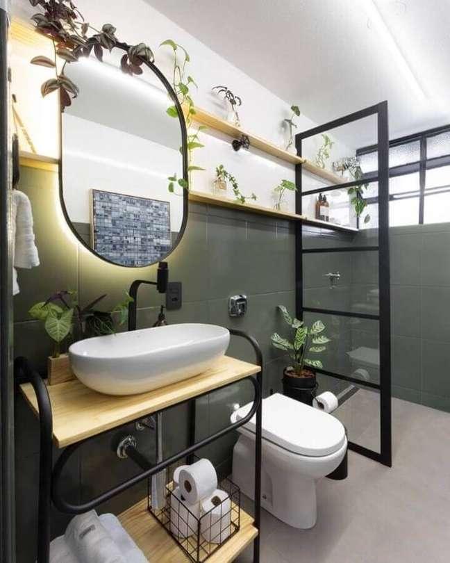 53. Plantas para decoração de banheiro bonito estilo industrial Foto Matheus Ilt
