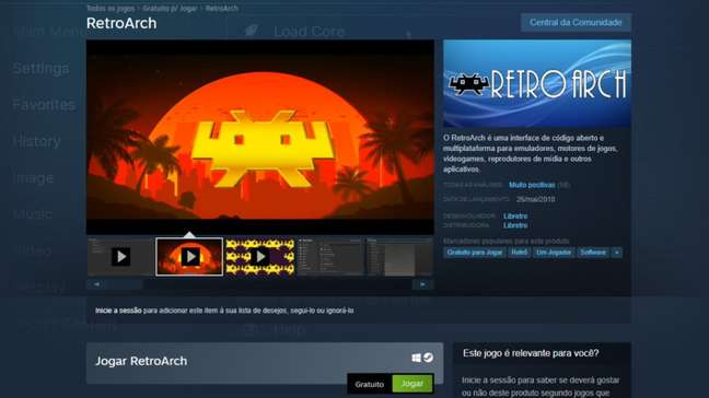 Página do RetroArch no Steam